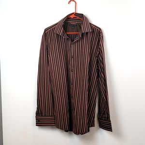 Banana Republic  Dress Shirt Brown Striped sz XL